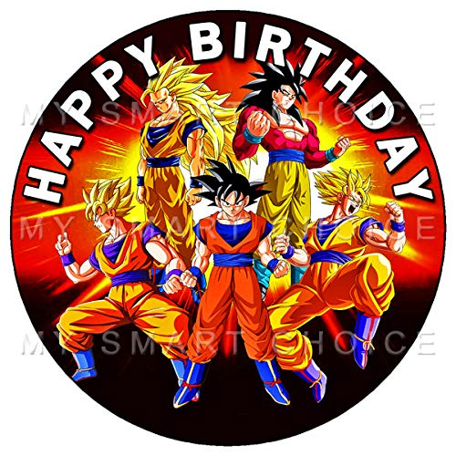 7.5 Inch Edible Cake Toppers - DRAGON BALL Z - GOKU GOGETA Themed Birthday Party Collection of Edible Cake Decorations