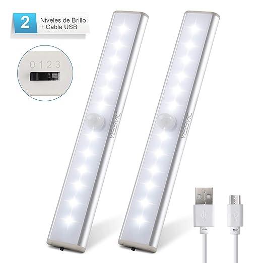 Yissvic Luz Nocturna Luz Armario LED USB Recargable Sensor de ...
