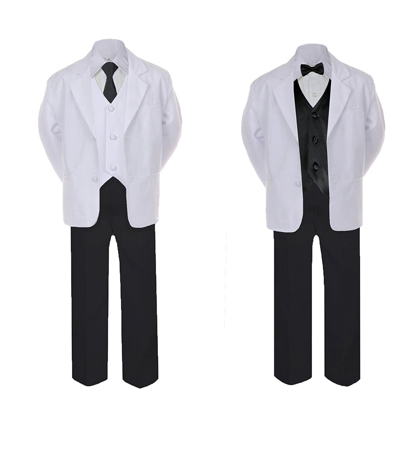 Unotux 5-7pc Formal Black White Suit Set Black Bow Tie Neck Vest Boy Baby Sm-20 Teen