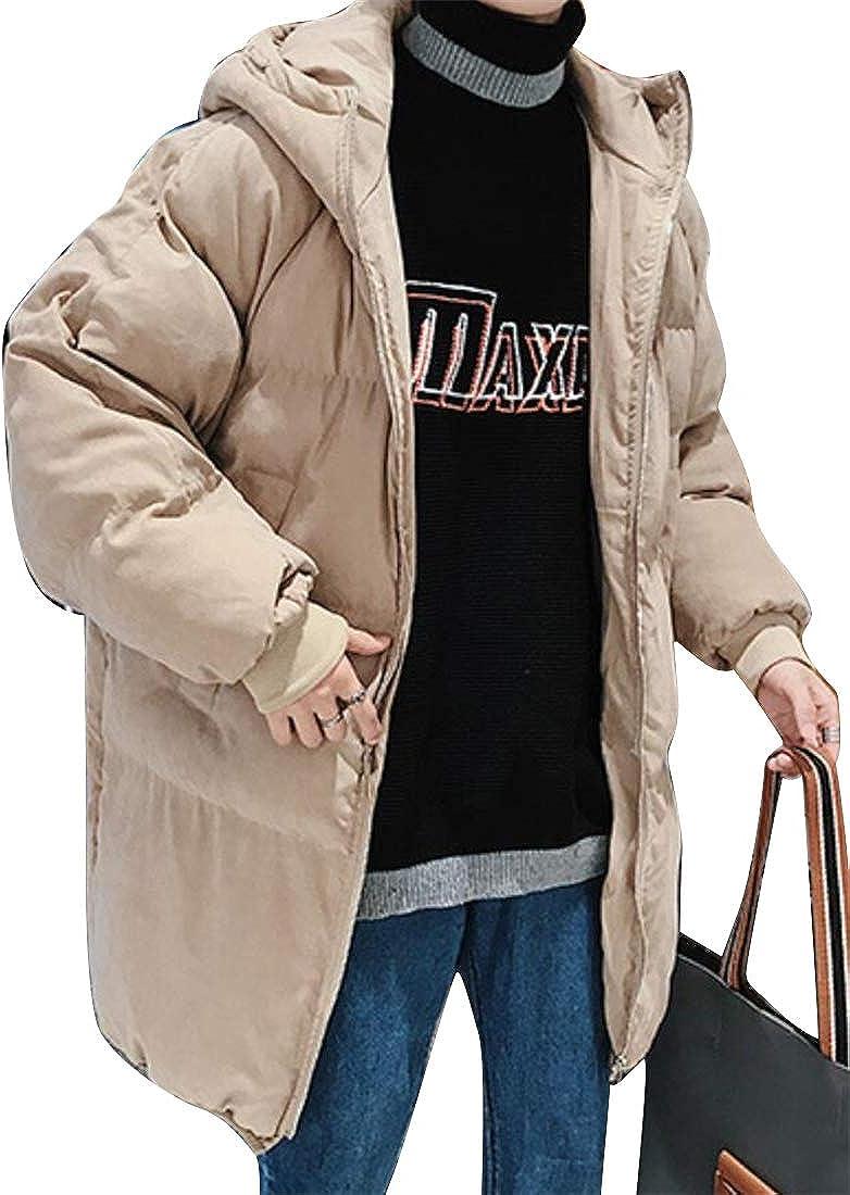 MK988 Mens Thicken Winter Zip Front Cotton Longline Bread Hooded Puffer Coat