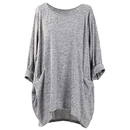 LANSKIRT_Ropa de mujer Camisetas Mujer, Moda Manga Larga Suelto Color sólido Informal O Cuello Bolsillo Camisetas Blusas Sueltas: Amazon.es: Ropa y ...