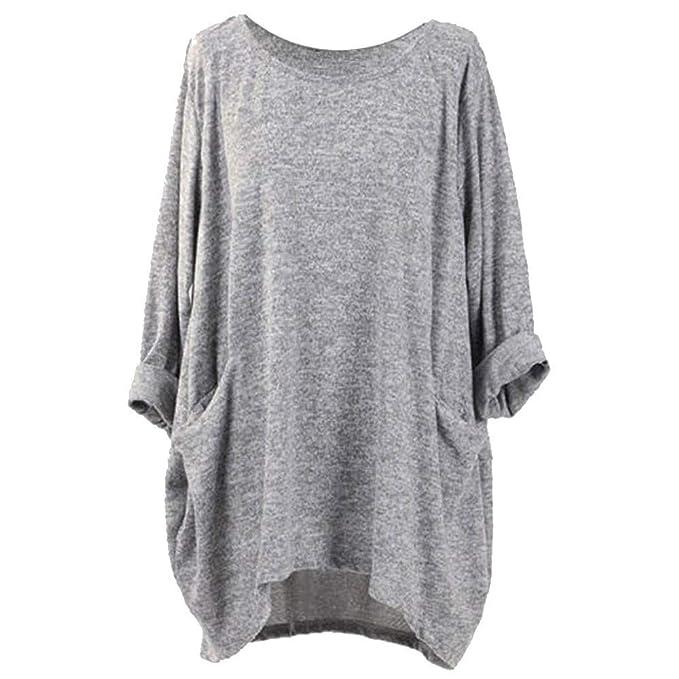 e87b2dbcc3112e iZHH Womens Blouses Long Sleeve O Neck Pocket Shirts Loose Casual  Tops(Gray,S