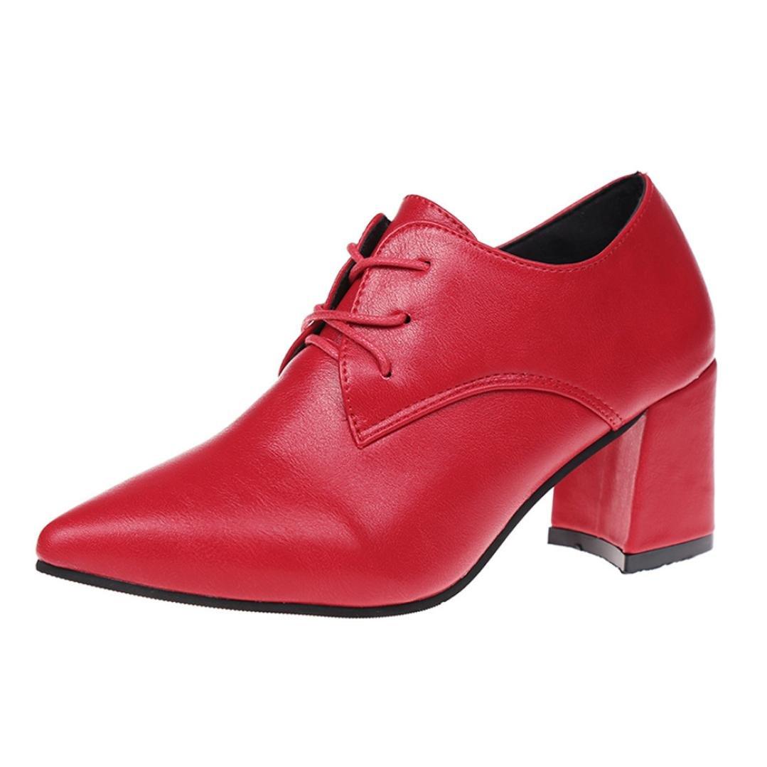 Pumps Pointed Toe Damen Ankle Biker Stiefel Lace-Up Heels Schuhe Block Ferse SOMESUN Schuhe Shoes 201737 EU|Rot