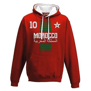 KiarenzaFD Sudadera con Capucha Bicolore Hombre Nacional Deporte Morocco  Marruecos Maroc 10 Futbol Deporte Africa Stella 3c3a794fe315e