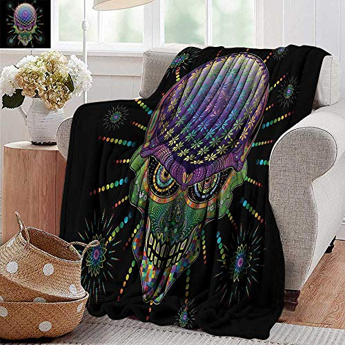 PearlRolan Weighted Blanket for Kids,Psychedelic,Digital Mexican Sugar Skull Festive Ceremony Halloween Ornate Effects Design,Multicolor,Weighted Blanket for Adults Kids, Better Deeper Sleep 30