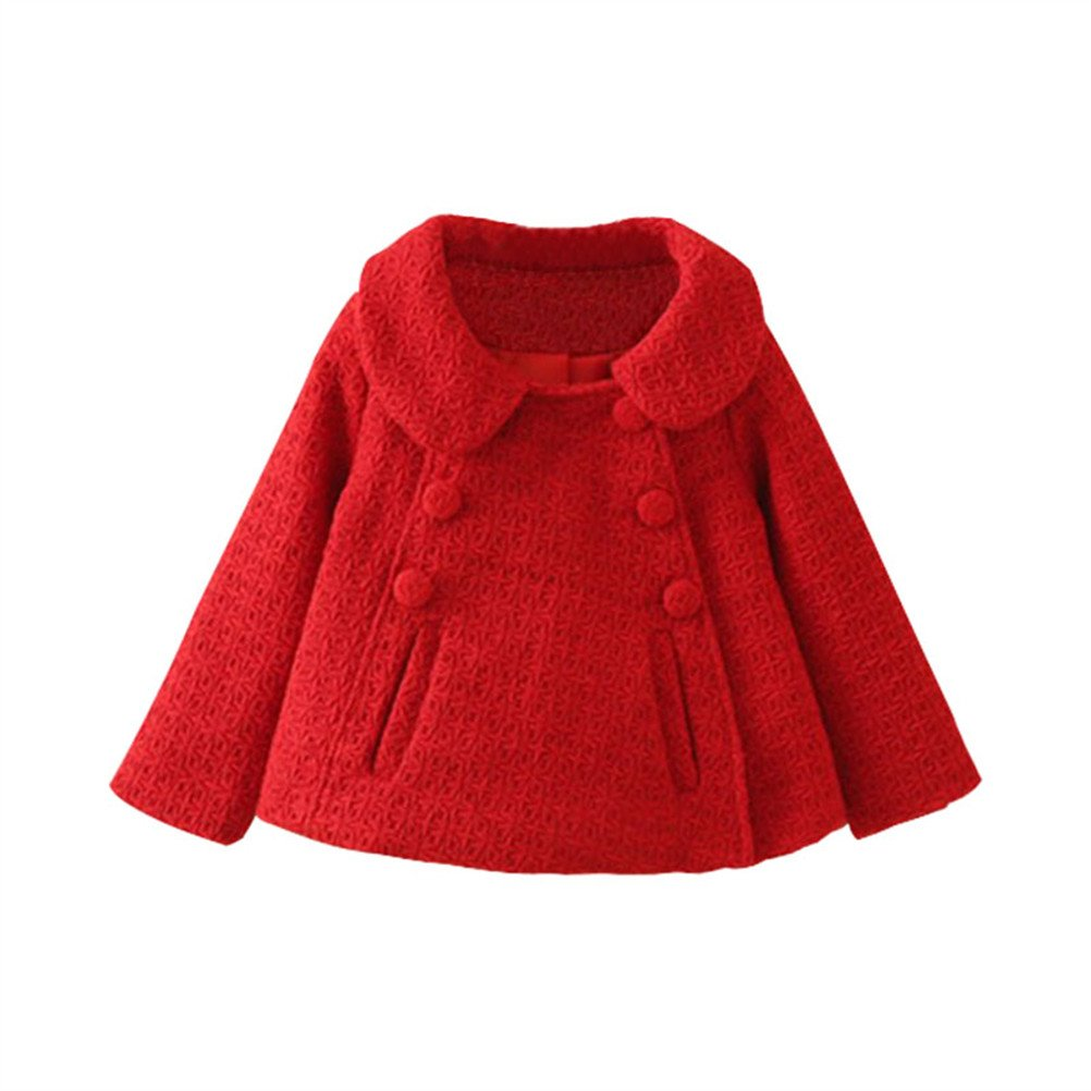 SPRMAG Baby Girls Dress Coat Korean Loose Jacket Solid Trench Coat Wool Overcoat Peacoat 3T Red