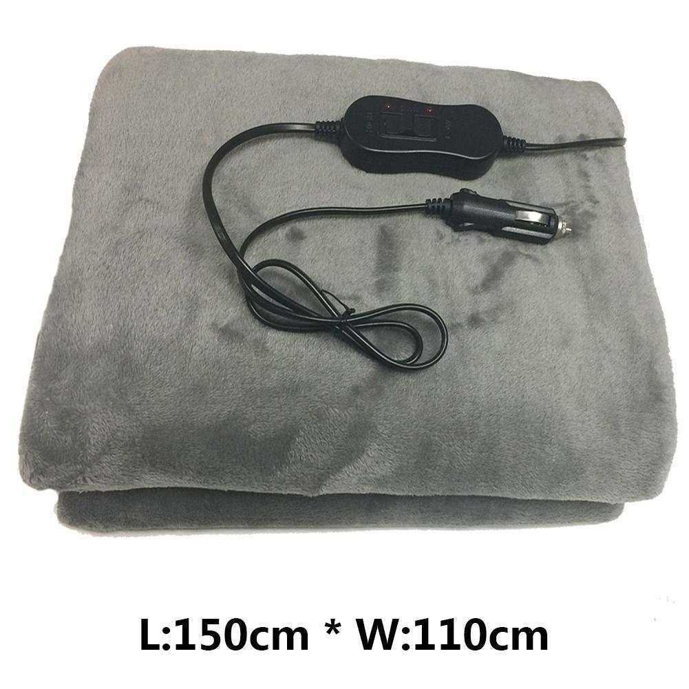 IMSHI Heated Travel Electric Flannel Blankets - Energy Saving Warm 12V Car Heating Blanket Autumn Winter Car Electric Blankets High/Low Temp Control Grey Color IMSHI®