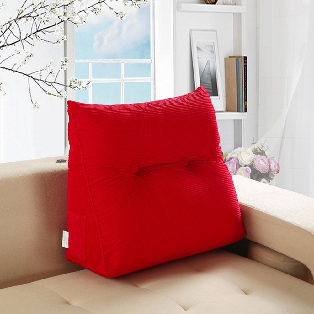 General Vercart Sofa Bed Large Upholstered Headboard Filled Triangular Wedge Cushion Bed Backrest Positioning Support Pillow Reading Pillow Office Lumbar Pad with Removable Cover Red 20x24 Inches