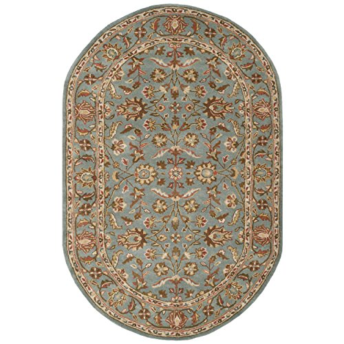 Heritage Collection Oval Rug - Safavieh Heritage Collection HG969A Handcrafted Traditional Oriental Blue Wool Oval Area Rug Oval (5' x 8' Oval)