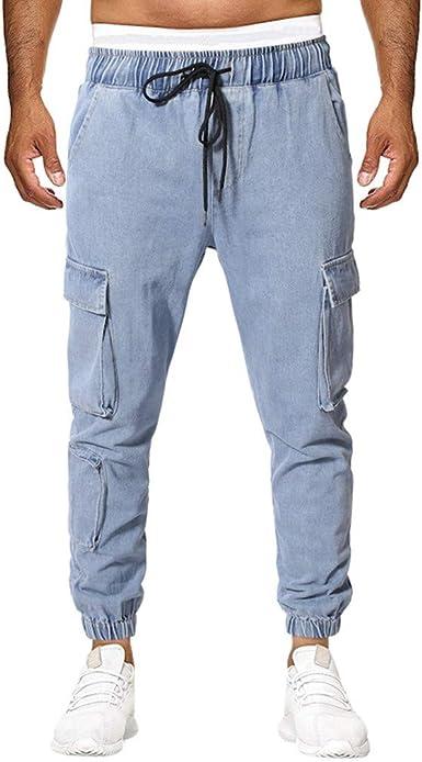Moverv Chandal Hombre Pantalones Jeans Hombre Vaqueros Hombre Cintura Sueltos Denim Jeans Pantalon Elastico Shaping Straight Vaqueros Con Bolsillos Jogging Con Cordon Pantalones Amazon Es Ropa Y Accesorios