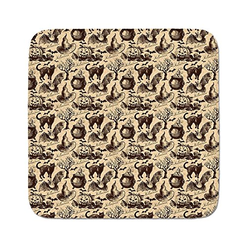 Cozy Seat Protector Pads Cushion Area Rug,Vintage Halloween,Symbols of Halloween Witch Hat Cauldron Fall Jack o Lantern Black Cat Decorative,Light Brown,Easy to Use on Any Surface