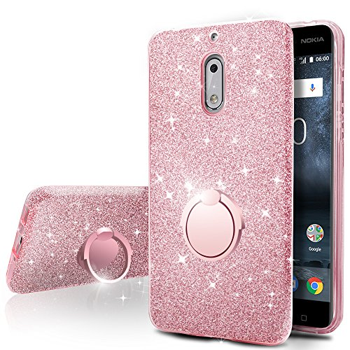 Nokia 6 Case,Silverback Girls Bling Glitter Sparkle Cute Phone Case With 360 Rotating Ring Stand, Soft TPU Outer Cover + Hard PC Inner Shell Skin for Nokia 6 -Rose Gold