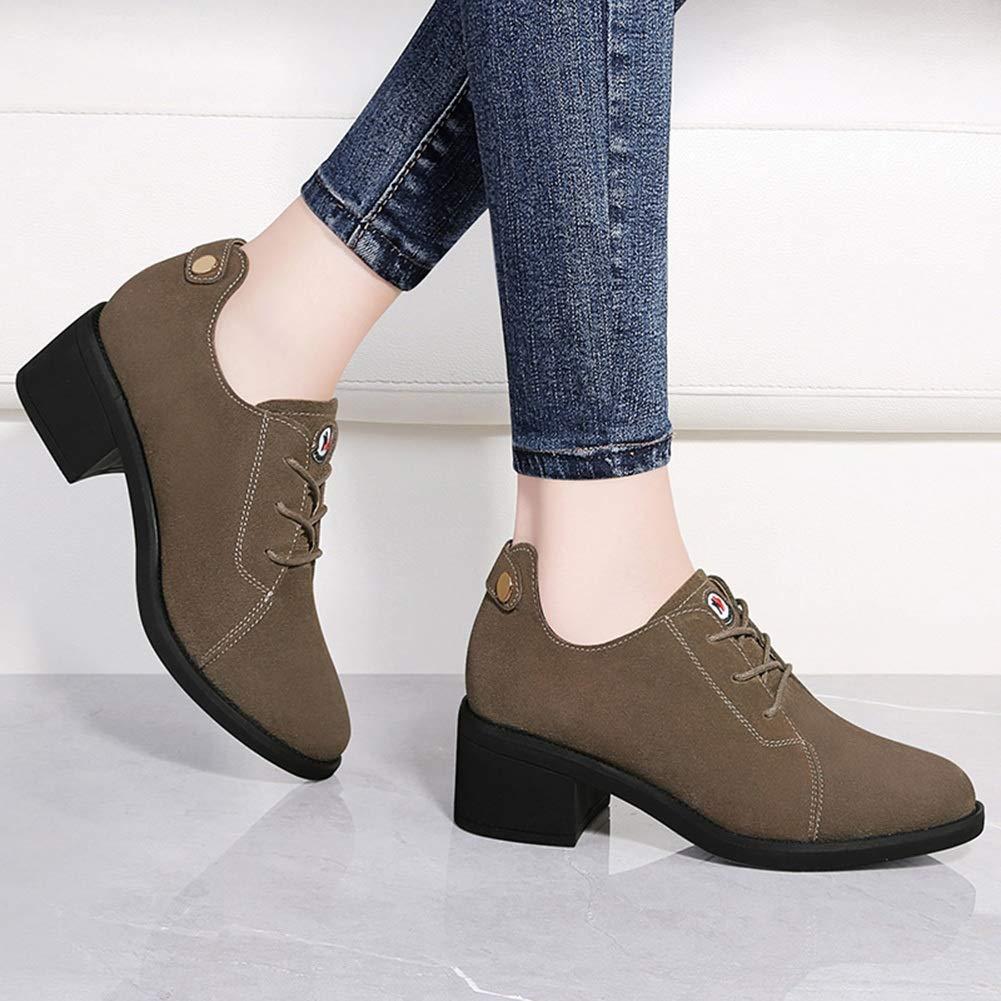 YIWU Frühling Einzelne Schuhe Weiblich 2019 Schuhe Dicke High Ferse High Dicke Heels Mittlere Ferse Ms Leder Schuhe Weibliche Schuhe (Farbe   Bean Paste, Größe   EU39 UK6.5 CN40) cf50df