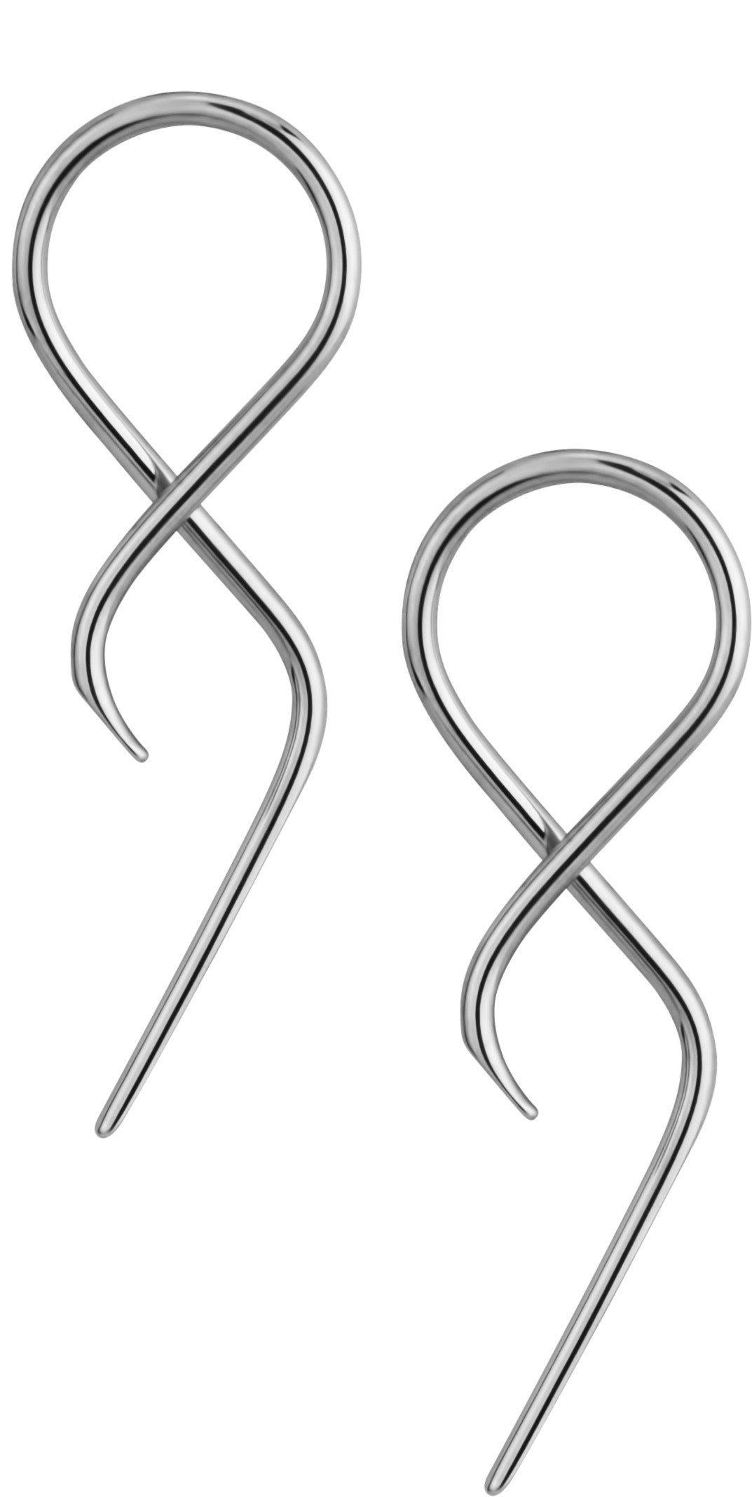 Pair of 14g Surgical Steel 1.75'' Twisting Curved Hanging Loop Taper Earrings