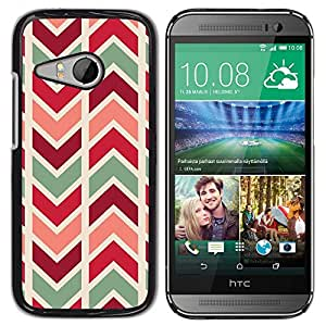 FlareStar Colour Printing Chevron Lines Pattern Teal Maroon cáscara Funda Case Caso de plástico para HTC ONE MINI 2 / M8 MINI