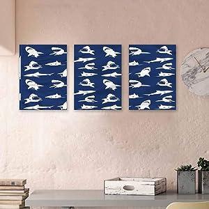 "MartinDecor Shark Kids Wall Art Various Gestures Humorous Canvas Wall Art Modern Minimalist Atmosphere 16""x31""x3 Panels"