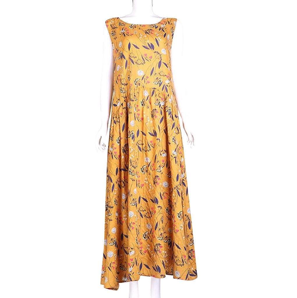 Women Plus Size Dress Bohemian Floral Print Vintage Sleeveless Long Maxi Dress