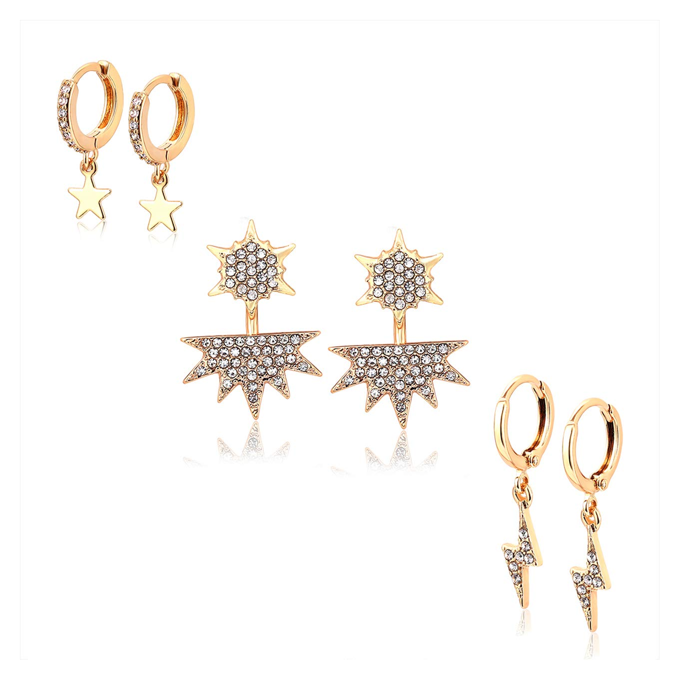 8ff0af1fa Amazon.com: BSJELL Dangle Earrings Sets for Women Huggie Hoop Earrings Tiny  Star Crystal Lightning Bolt Wedding Ear Jacket Stud Set Fashion Jewelry 3  Pairs ...