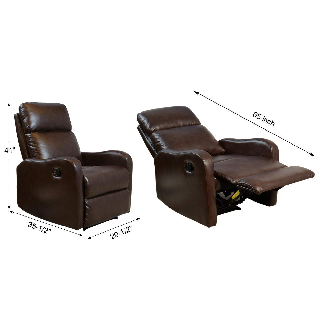 BONZY Recliner Chair Contemporary Black Leather Recliner