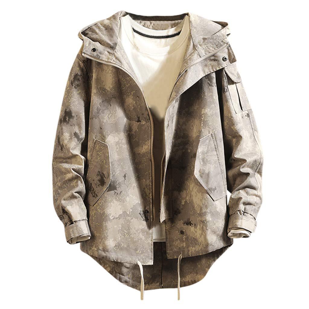 Allywit-Mens Jacket Casual Cotton Outdoor Windbreaker Lightweight Jacket Outerwear Camouflage by Allywit-Mens