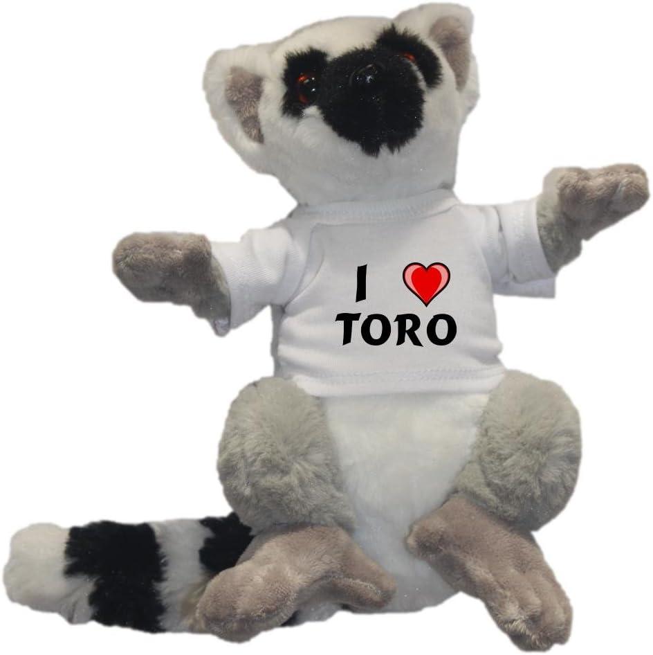 Shopzeus Lémur de cola anillada personalizado de peluche (juguete) con Amo Toro en la camiseta (nombre de pila/apellido/apodo): Amazon.es: Juguetes y juegos