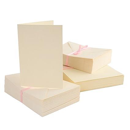Anitas Docrafts - Paquete de 100 tarjetas y sobres A6, crema