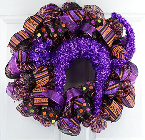 Mesh Halloween Wreath | Purple Cat Mesh Outdoor Front Door Wreath; Purple Orange Black