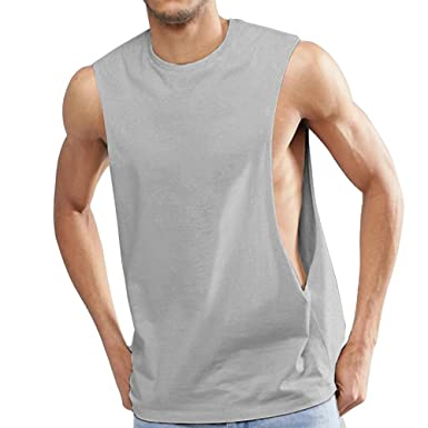 a550a852a3 OA ONRUSH AESTHETICS Men s Dropped Armhole Tank Tops Sleeveless Soft Touch  Vest Gray S