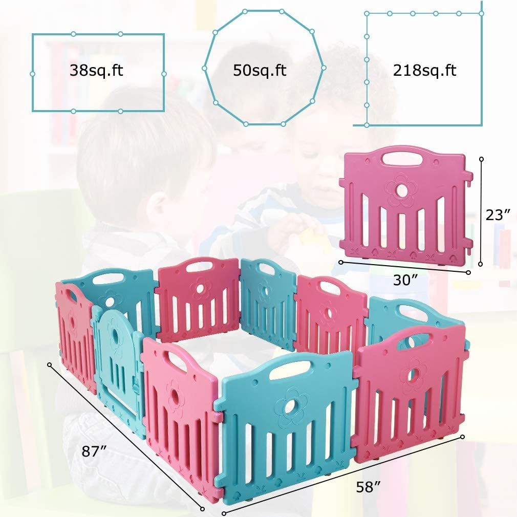 Baby Playpen for Babies Baby Play Yards 10 Panels Kids Activity Center Portable Playard Indoor and Outdoor Baby Fence Safe Play Yard Play Pen with Lock for Infants