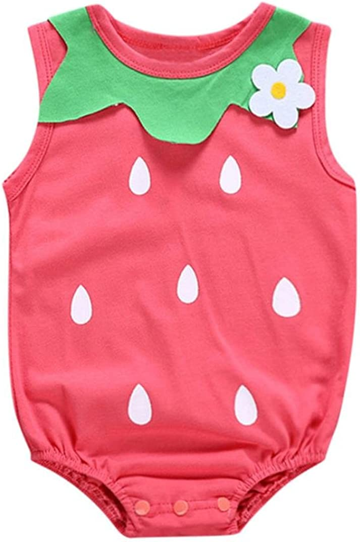 Memela Toddler Baby Kid GILR Romper Strawberry Floral Print Sleeveless Jumpsuit Outfits