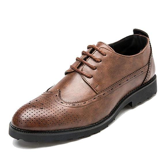Apragaz Zapatos de Vestir de graduación de Bodas Oxfords para Hombres de la Moda de Estilo británico Hollowed-out Personalidad de la Flor Brogues Shoes ...