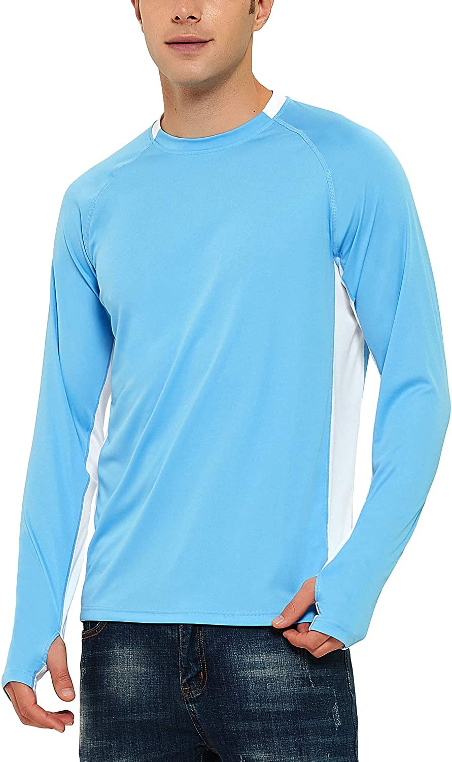 FIRST WAY Mens UPF 50 Sun Protection Shirt with Long Sleeve Hoodie Outdoor Workout Hiking Fishing Top