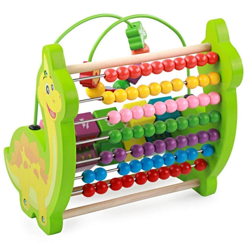 EoamIk Juegos para la Primera Infancia Cuentas de Dinosaurios multifuncionales Marco de cálculo Juguete de Cuentas Educativo para niños (Verde)