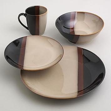 SANGO 16Pc Tempo Black Dinnerware Set & Amazon.com | SANGO 16Pc Tempo Black Dinnerware Set: Dinnerware Sets