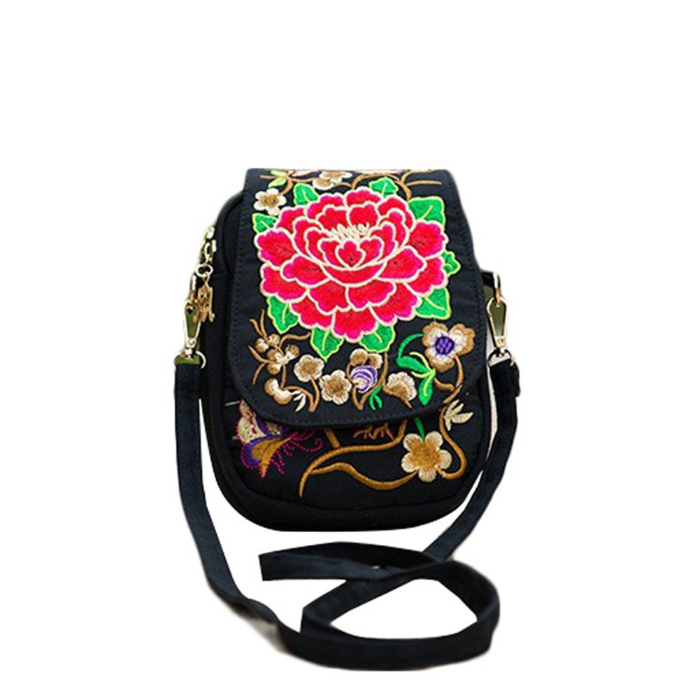Women Rose Embroidered Crossbody Bags Mini - Dxlta Vintage Bags Fashion Embroidery One Shoulder Bags (Black)