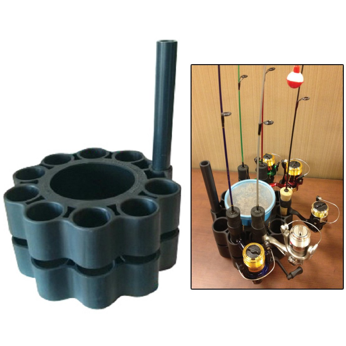 Ice fishing rod retainer holder carrier for multiple poles for Ice fishing rod holders