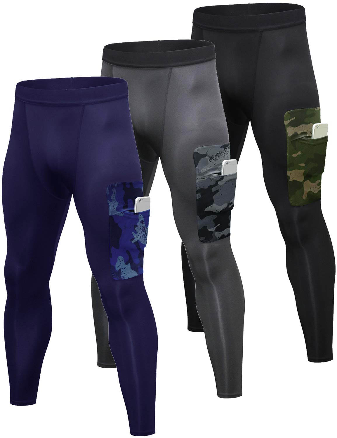 Lavento Men's Compression Pants Baselayer Cool Dry Pocket Running Ankle Leggings Active Tights (3 Pack-3920 Black-Green/Gray/Navy Blue,2X-Large) by Lavento