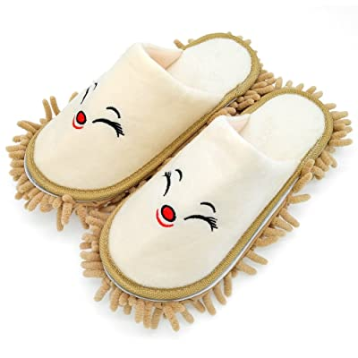 Selric Smiling Fox Super Chenille Microfiber Washable Mop Slippers Shoes Camel