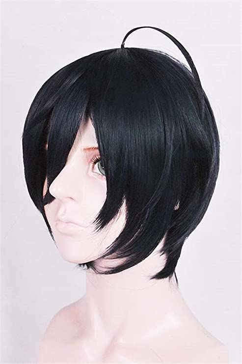 LanTing Cosplay Peluca New Dangan Ronpa V3 Saihara shuichi Dark Blue Black Short Cosplay Party Fashion