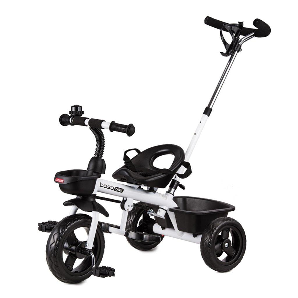 HAIZHEN マウンテンバイク 子供の三輪車フロントホイールクラッチは、軽いホイールハブの自転車ダブルブレーキ一押しプッシュロッドバスケット折りたたみペダルベビーバイク 新生児 B07DS2SK5P白
