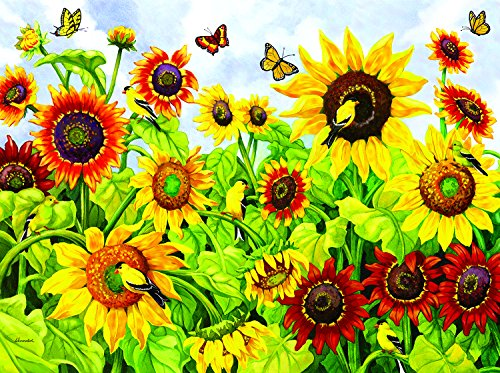 Sunflowers & Goldfinches 1000 Piece Jigsaw Puzzle by SunsOut