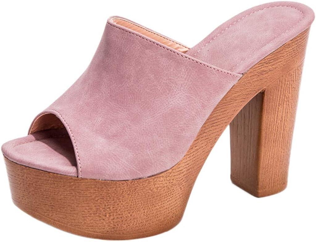 Winsummer Womens Chunky High Heel Mules Peep Toe Slide Sandals Single Band Clog Slip-On Platform Slippers Sandal