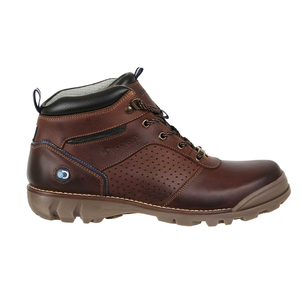 Discovery Expedition Mens Short Lace-up Leather Crop Boot w/Traction Sole Brown 8.5