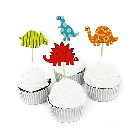 Lalang 24pcs Dinosaur Cake Toppers Cupcake Picks Party Cake Decoration