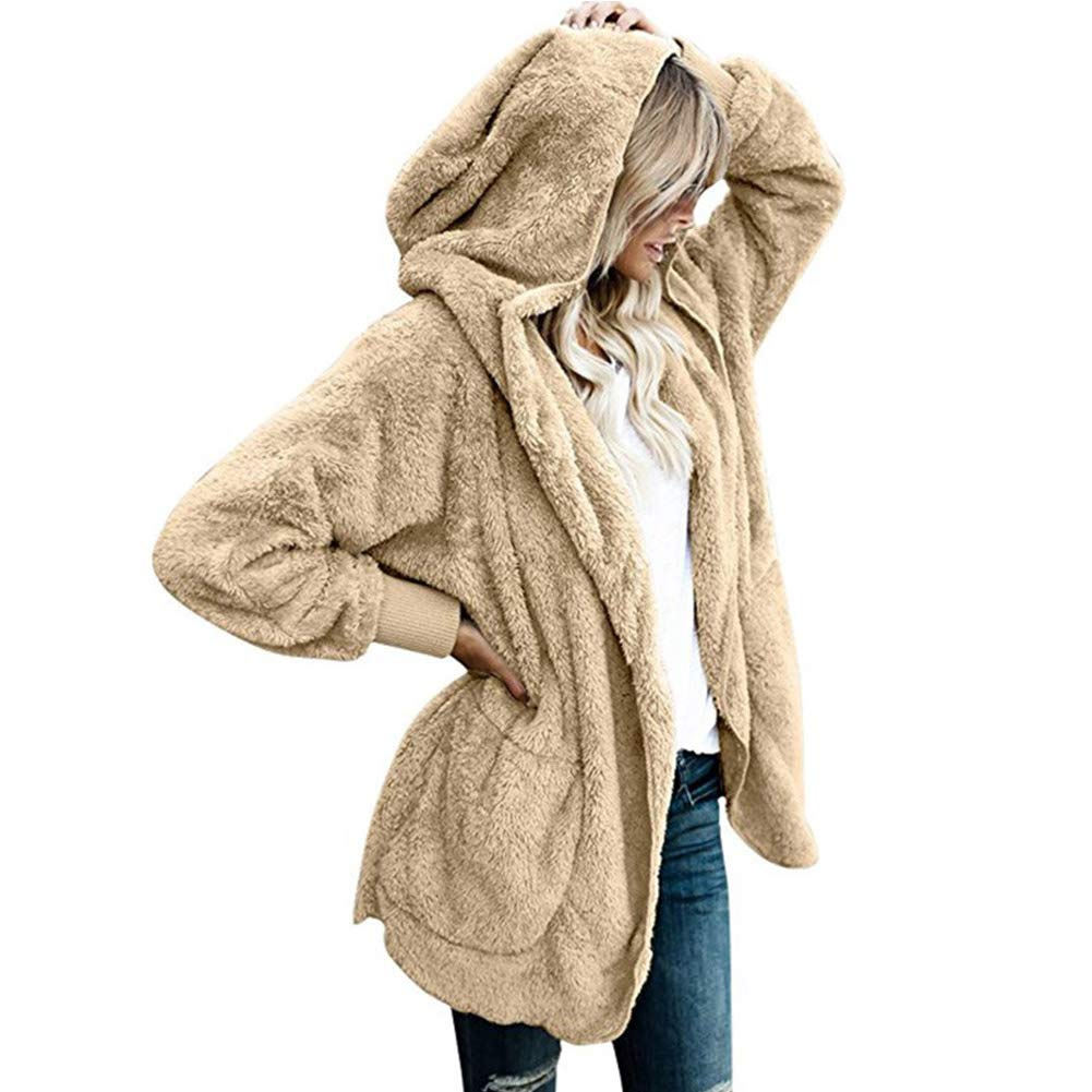 Women's Open Front Cardigan Hooded, S.Charma Winter Warm Fluffy Jacket Coats with Pocket