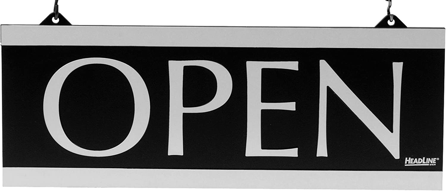 """Headline Sign - Century Series 2-Sided Reversible""""Open"""" /""""Closed"""" Sign with Hanging Holes, Suction Mount, 13"""" x 5"""", Black and Silver (4246)"""