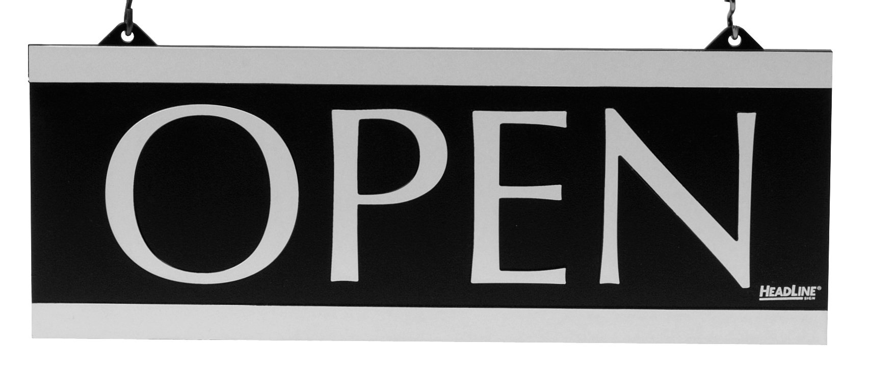 Headline Sign - Century Series 2-Sided Reversible''OPEN'' /''CLOSED'' Sign with Hanging Holes, Suction Mount, 13'' x 5'', Black and Silver (4246)