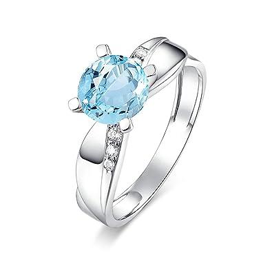 2ed37d8b3a27 Blisfille Joyas Anillos Compromiso Dorados Anillo de Round Anillo Oro Rosa Diamante  Anillo de Plata de Ley 925