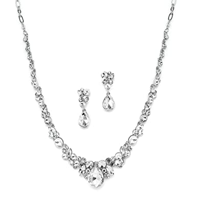 6a6f4b4a799 Amazon.com: Mariell Glamorous Clear Crystal Wedding, Prom, Bridesmaids or  Mother of Bride Necklace and Earrings Set: Jewelry
