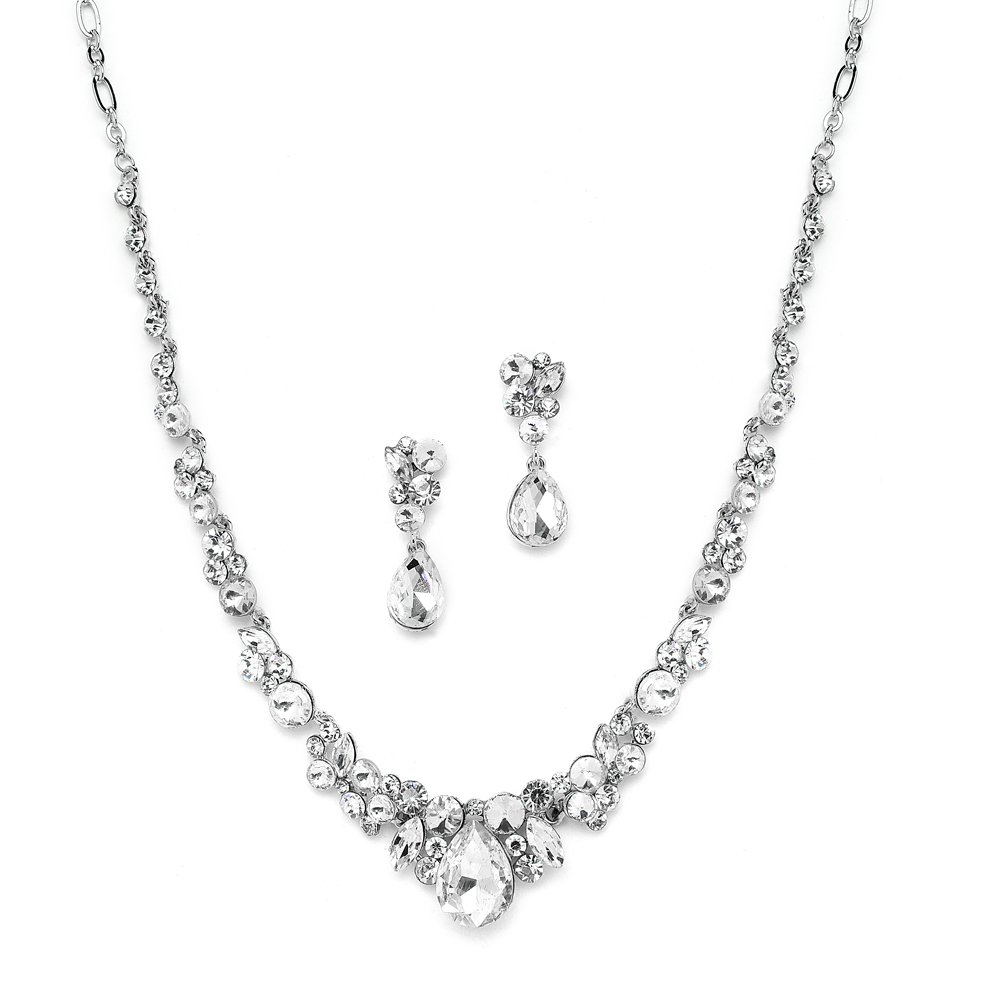 Mariell Glamorous Clear Crystal Wedding, Prom, Bridesmaids or Mother of Bride Necklace and Earrings Set